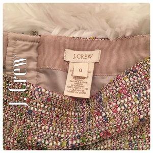 J. Crew Cream. Green, Pink,Purple Tweed Mini Skirt